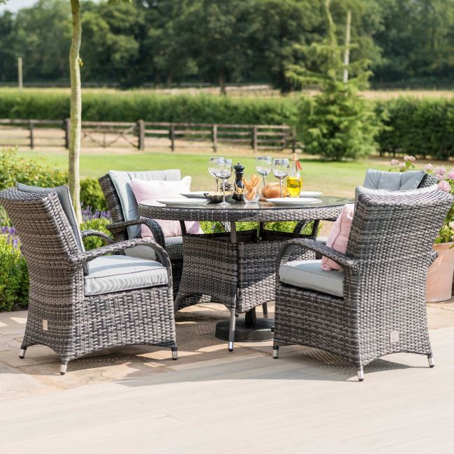 Maze Rattan - Texas 4 Seat Round Dining Set - Grey