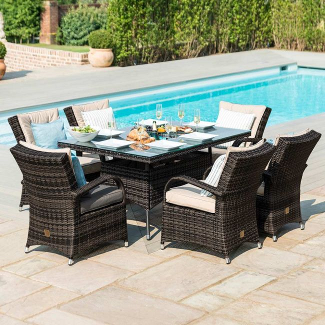 Maze Rattan - Texas 6 Seat Rectangular Dining Set - Ice Bucket - Brown