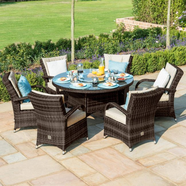 Maze Rattan - Texas 6 Seat Round Dining Set - With Ice Bucket & Lazy Susan - Brown