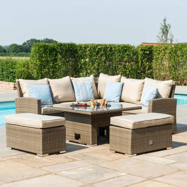 Maze Rattan - Richmond Corner Bench Set - With Rising Table - Tuscany