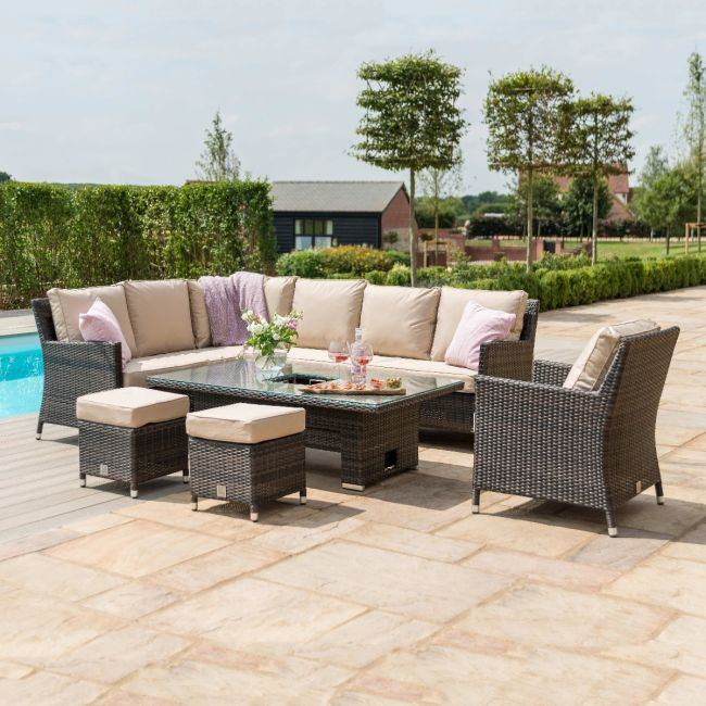 Maze Rattan - Venice Corner Sofa Dining Set - With Ice Bucket & Rising Table - With Armchair - Brown