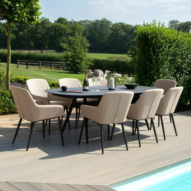 Maze Lounge - Outdoor Fabric Zest 8 Seat Oval Dining Set - Taupe