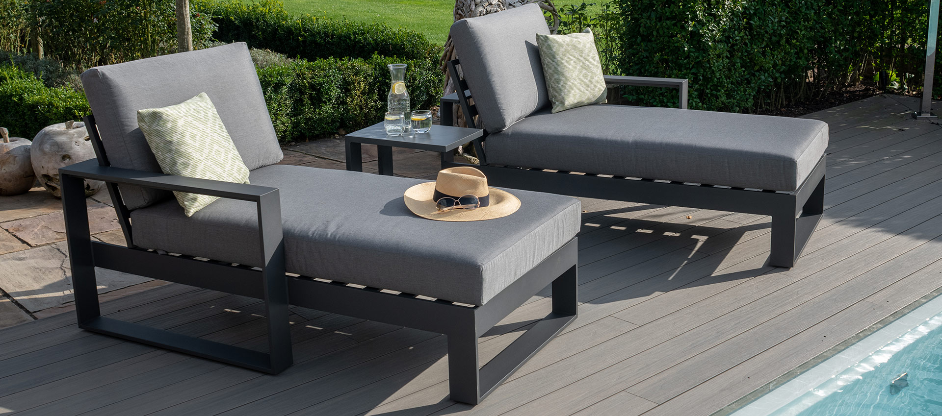 Maze - Amalfi Double Sunlounger with Side Table - Grey