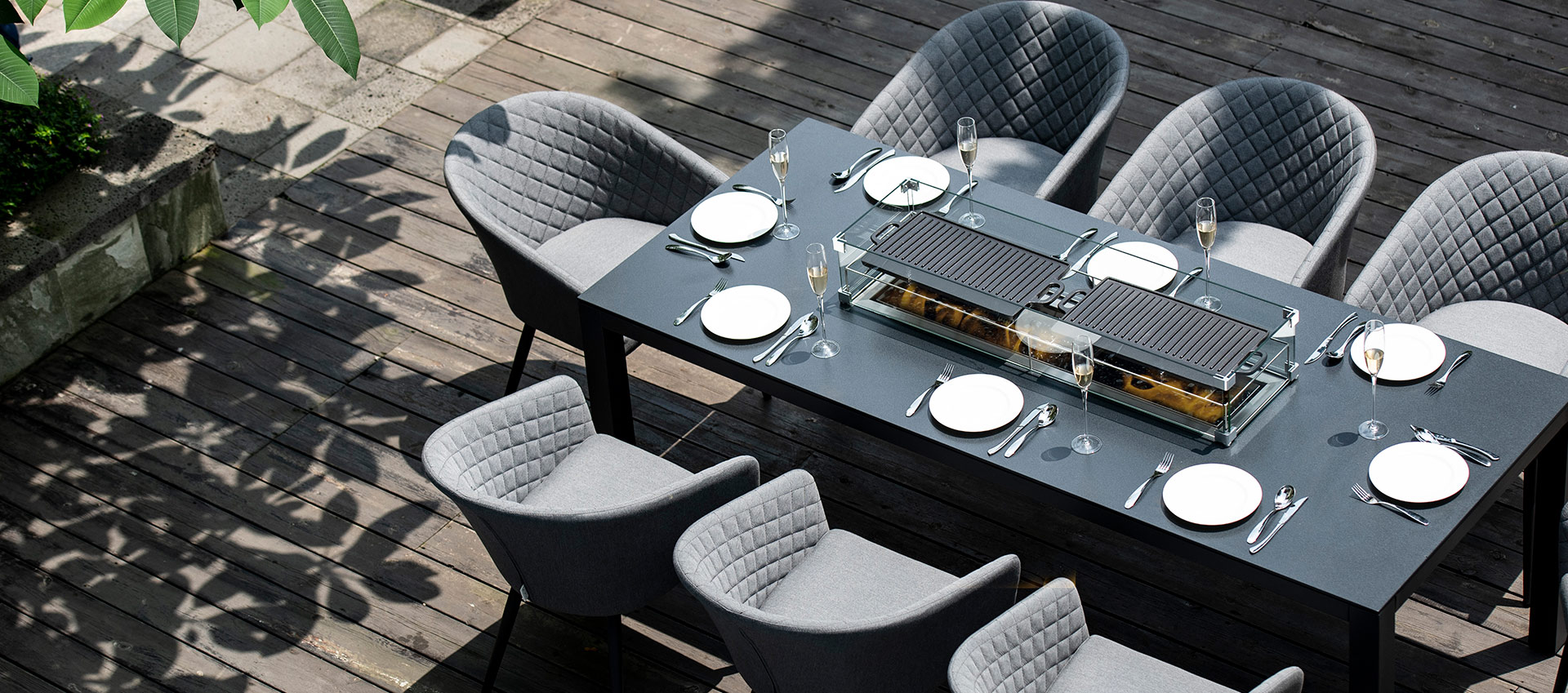 Maze Lounge - Outdoor Fabric Ambition 8 Seat Rectangular Dining Set - With Fire pit Table - Flanelle