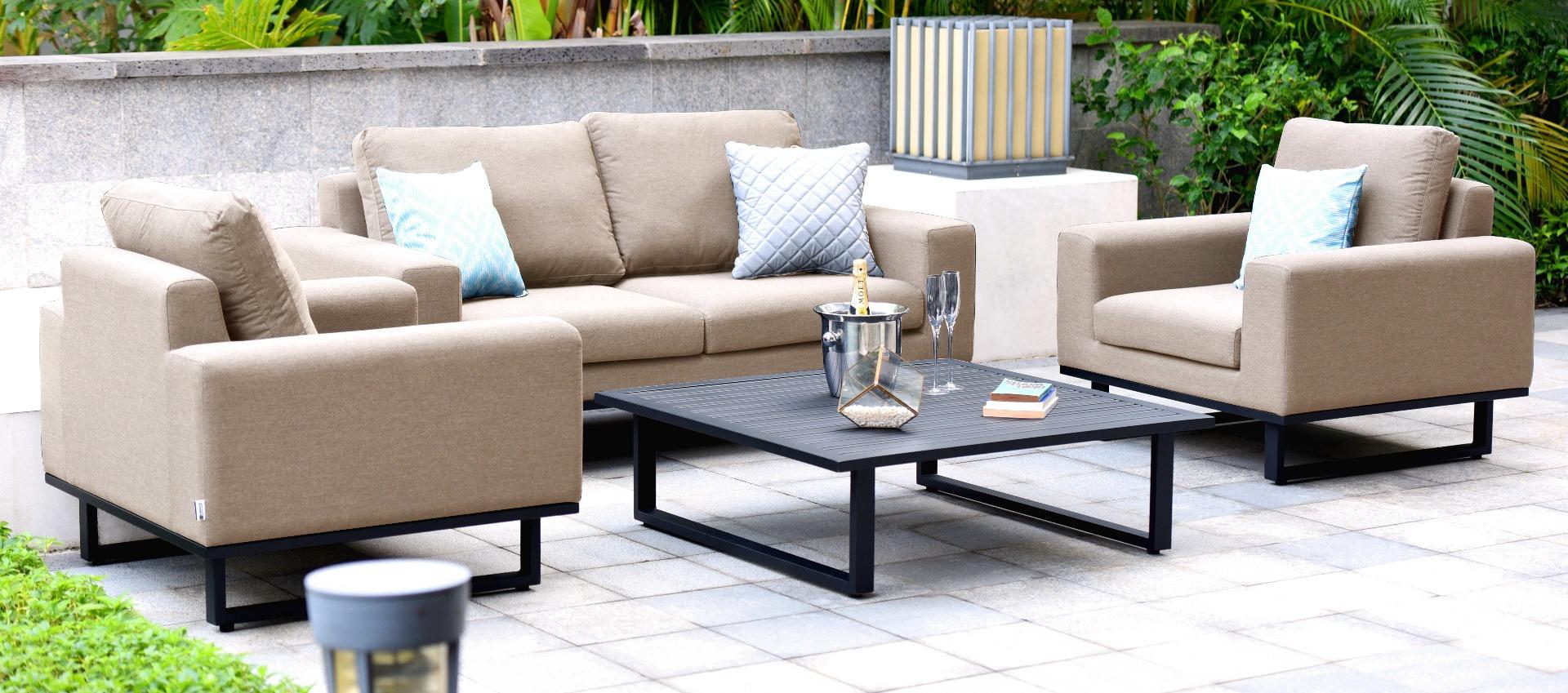Maze Lounge - Outdoor Fabric Ethos 2 Seat Sofa Set - Taupe