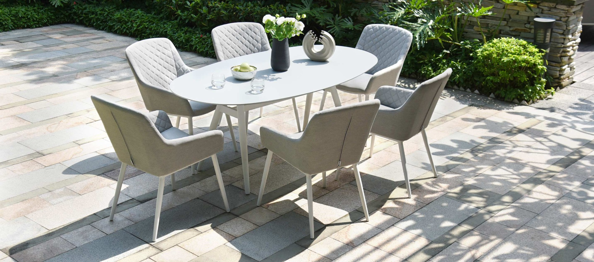 Maze Lounge - Outdoor Fabric Zest 6 Seat Oval Dining Set - Lead Chine