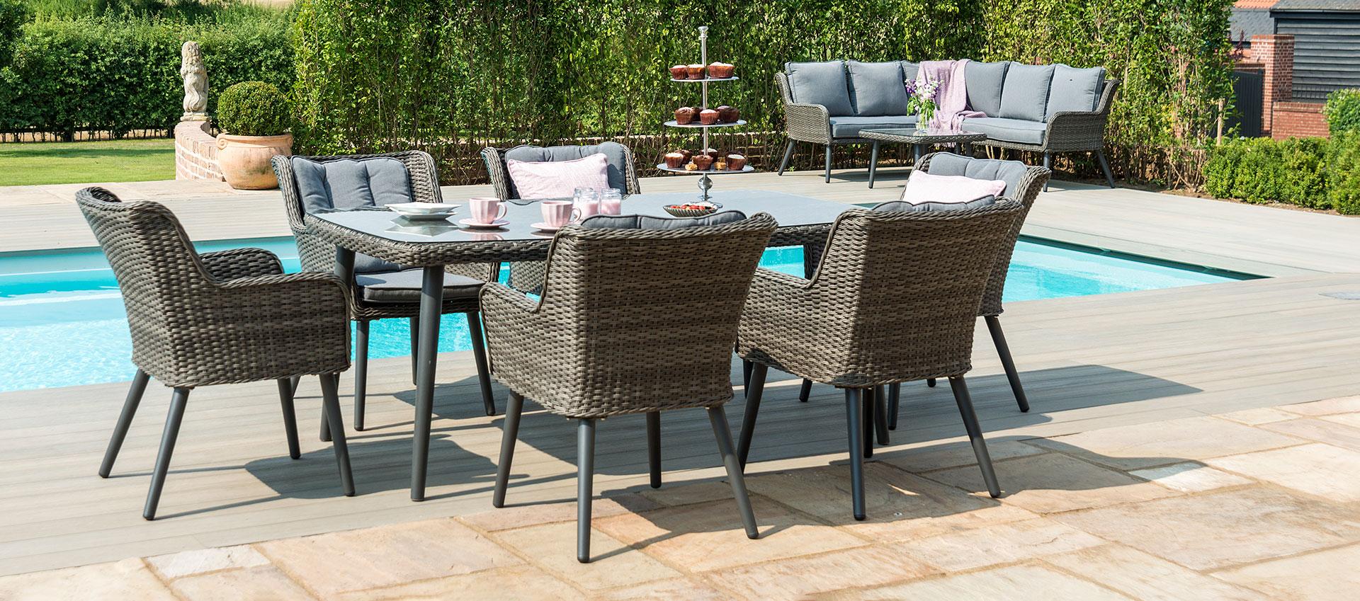 Maze Rattan - Florence 6 Seat Rectangular Dining Set - Grey