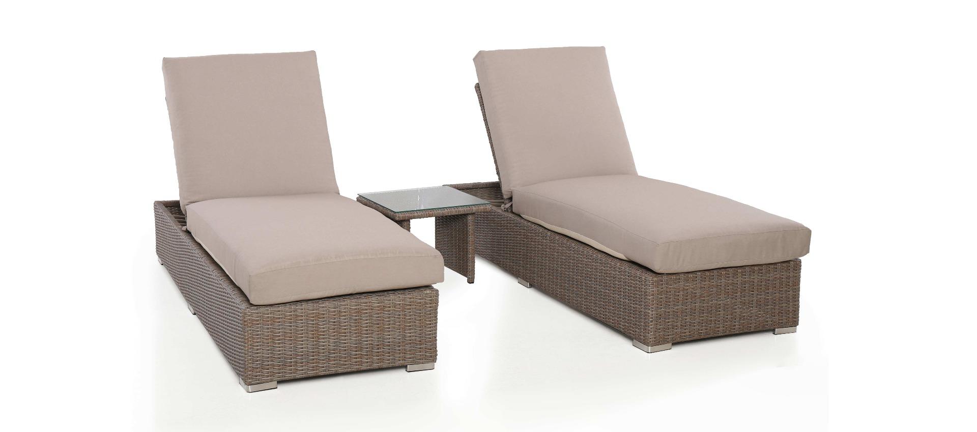 Maze Rattan - Harrogate Sun Lounger Set - With Weatherproof Cushions
