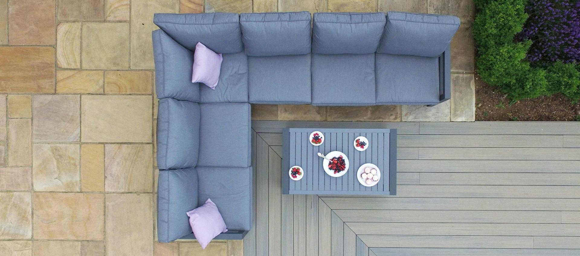 Maze - New York Aluminium Corner Sofa Set - Grey