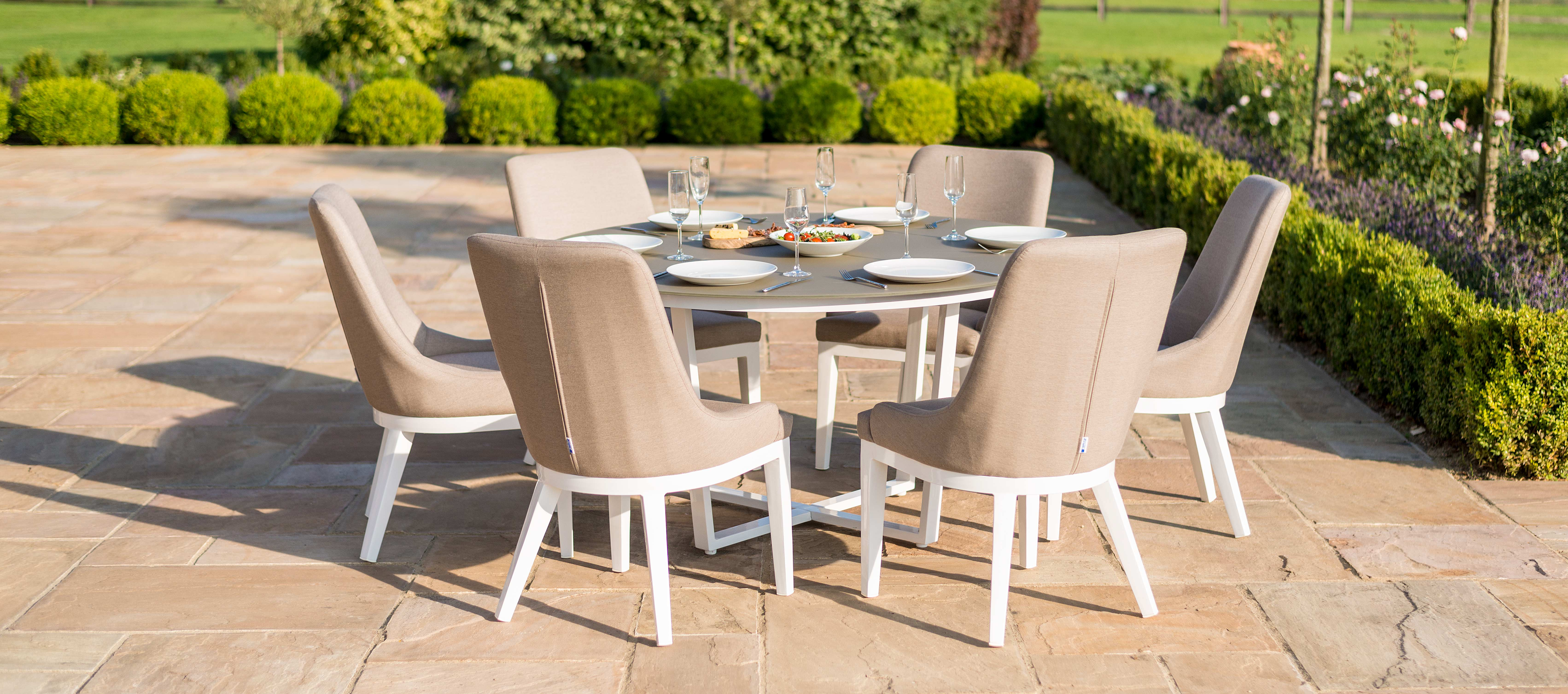 Maze Lounge - Outdoor Fabric Pacific 6 Seat Round Dining Set - Taupe