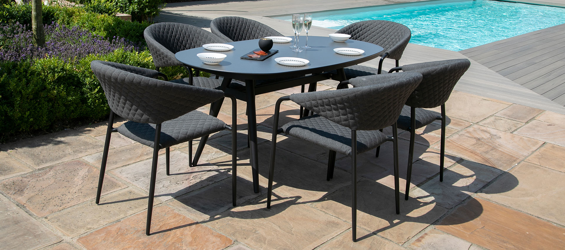 Maze Lounge - Outdoor Fabric Pebble 6 Seat Oval Dining Set - Charcoal