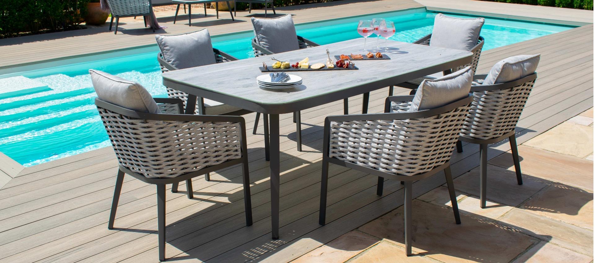 Maze - Portofino 6 Seat Rectangular Dining Set - Rope Weave