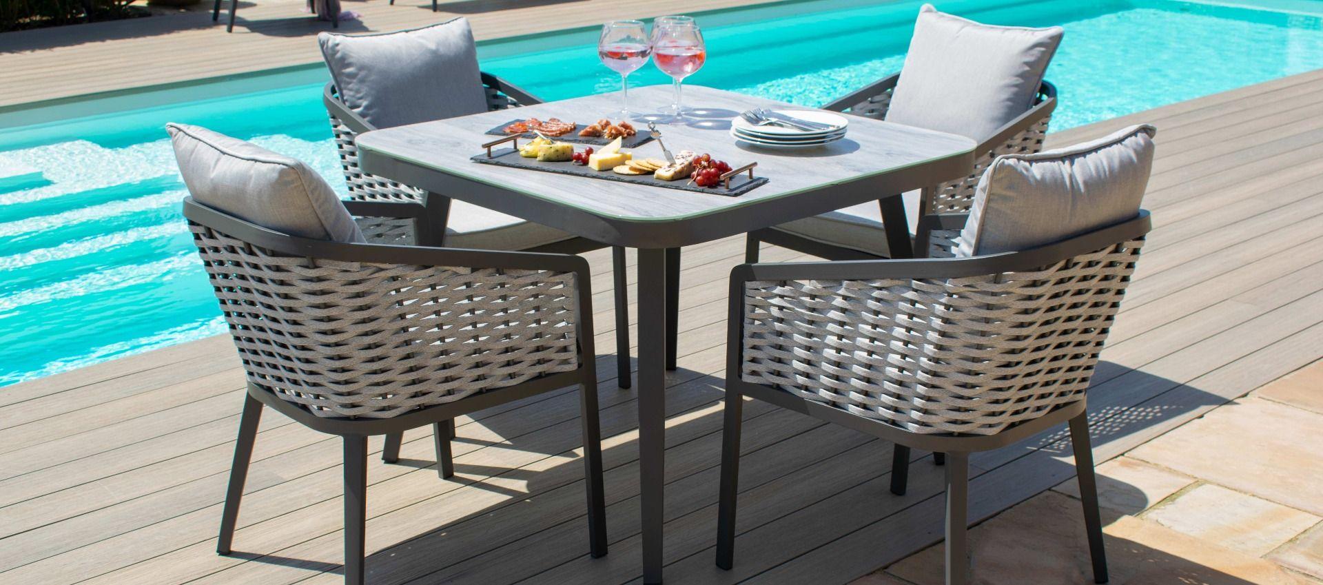 Maze - Portofino 4 Seat Square Dining Set - Rope Weave