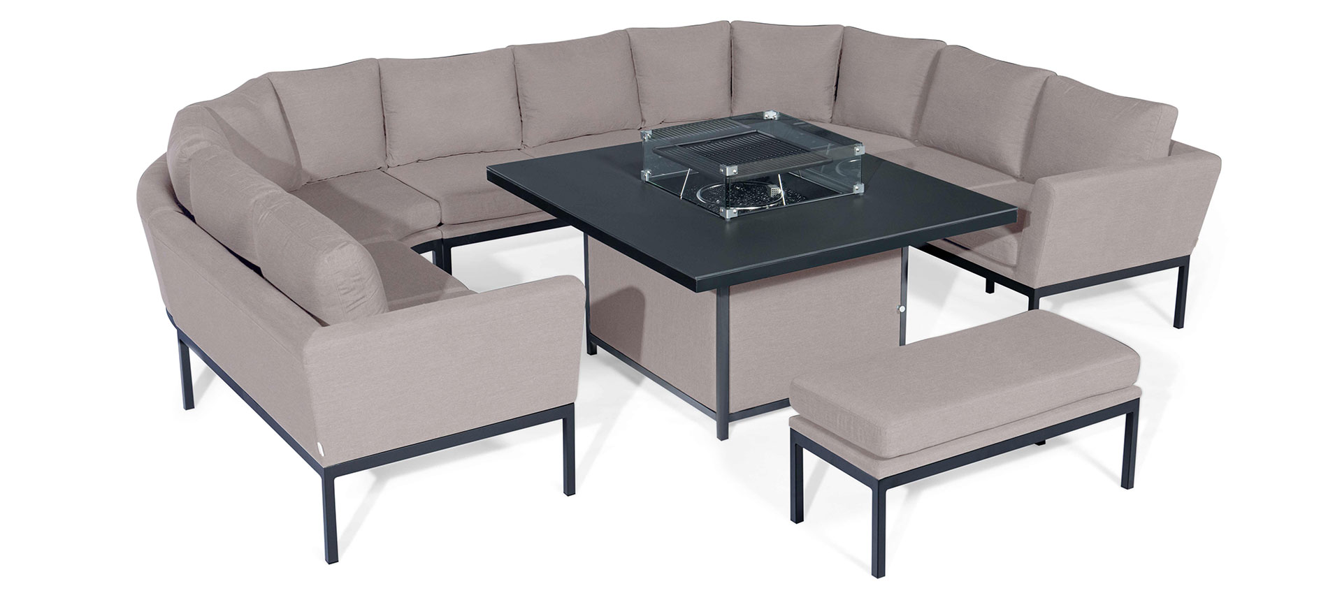 Maze Lounge - Outdoor Fabric Pulse U Shape Corner Dining Set - With Firepit Table - Taupe