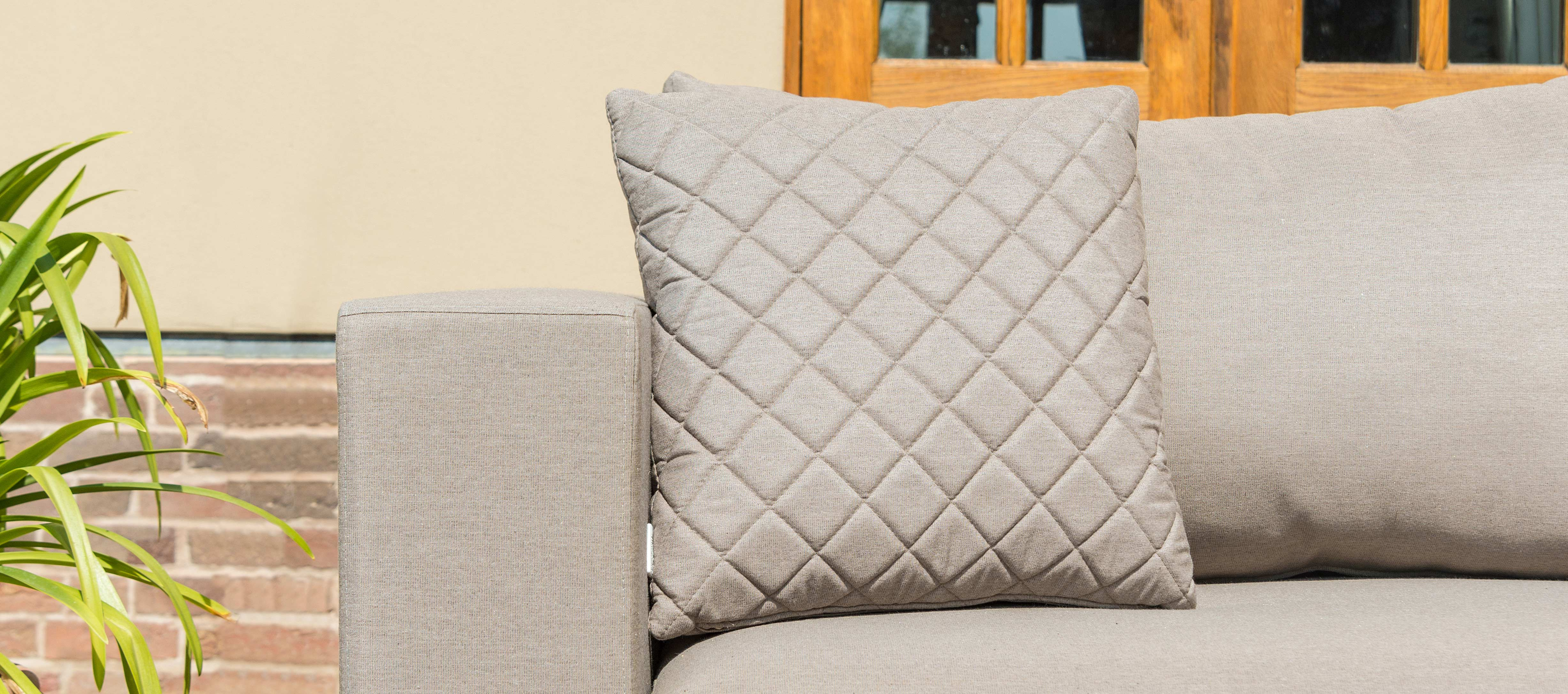 Maze Lounge - Pair of Outdoor Fabric Scatter Cushion Quilted - Taupe