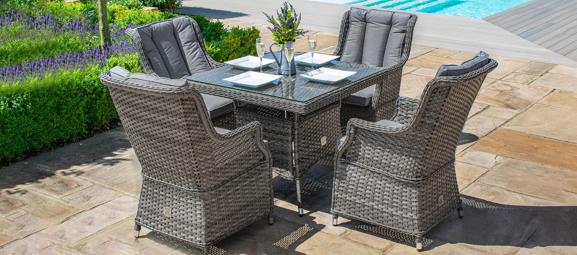Maze Rattan - Victoria 4 Seat Square Dining Set