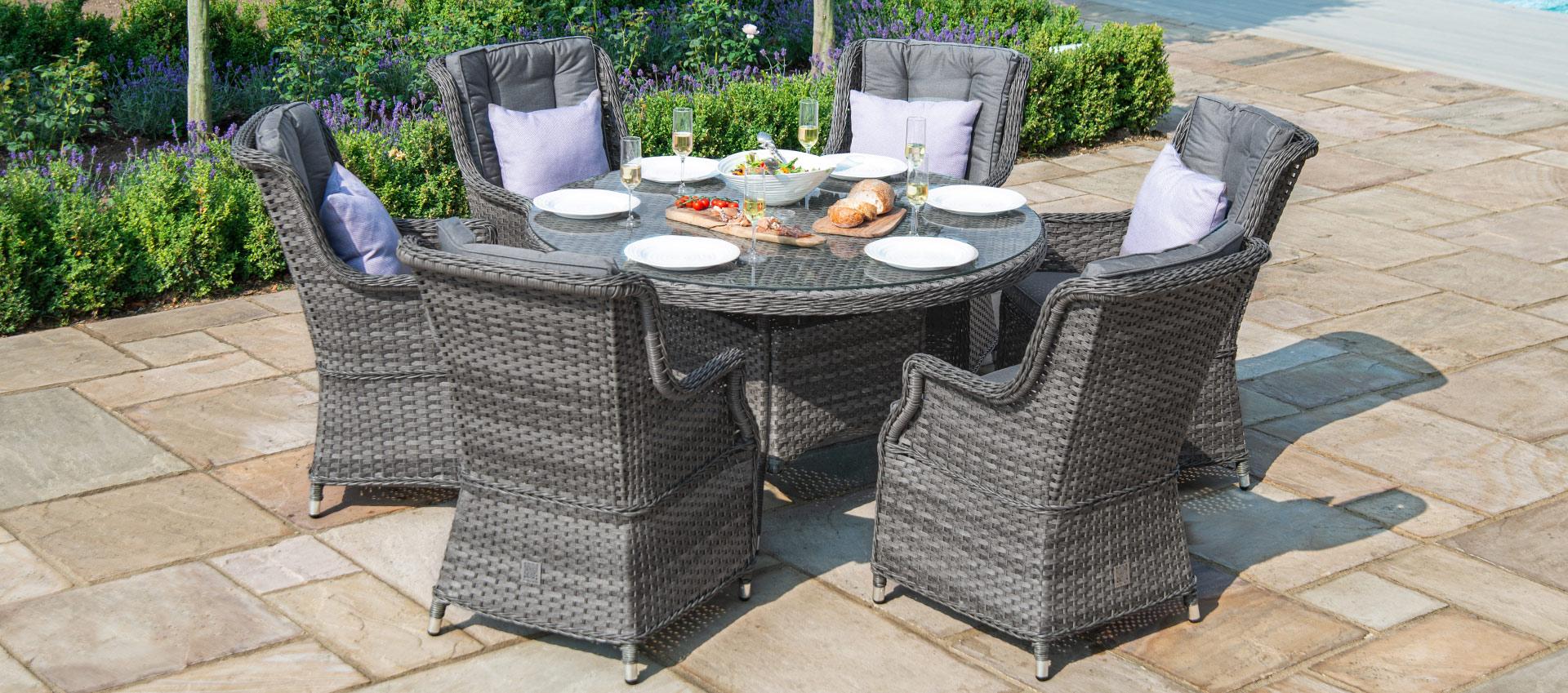 Maze Rattan - Victoria 6 Seat Round Dining Set