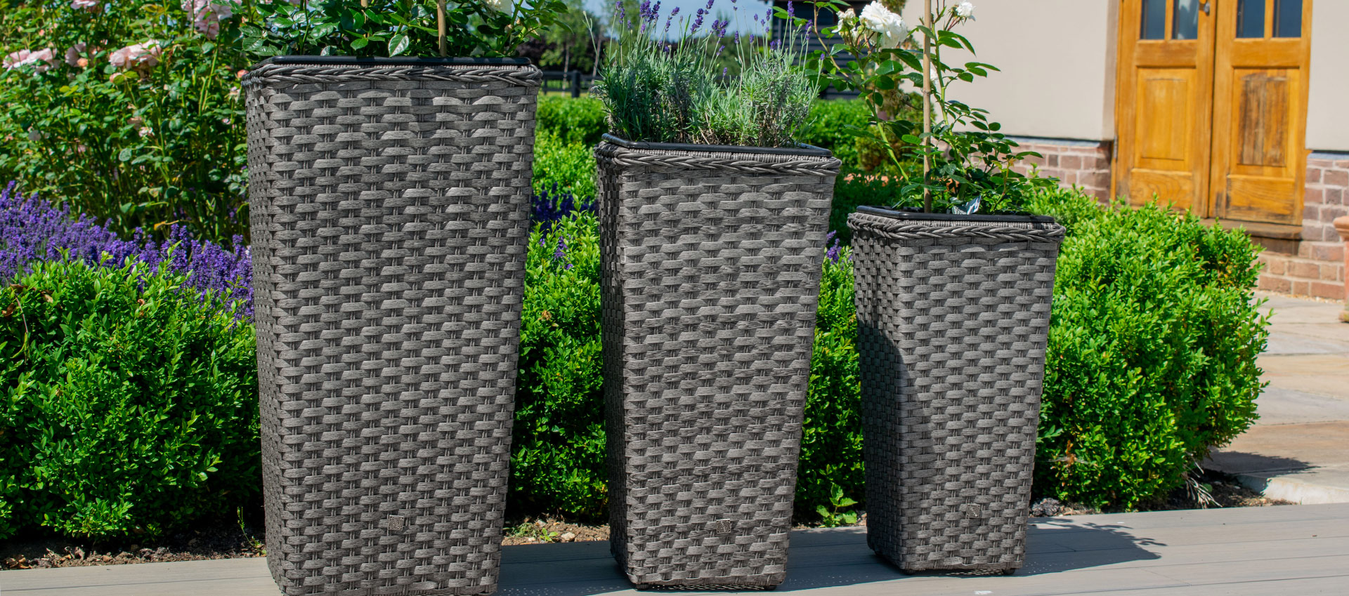 Maze Rattan - Victoria Tall Planter Set