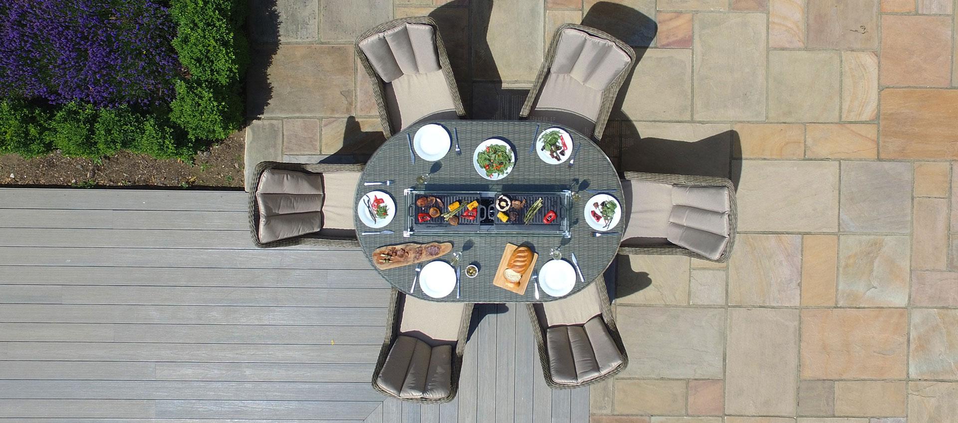 Maze Rattan - Winchester - Venice 6 Seat Oval Fire pit Dining Set