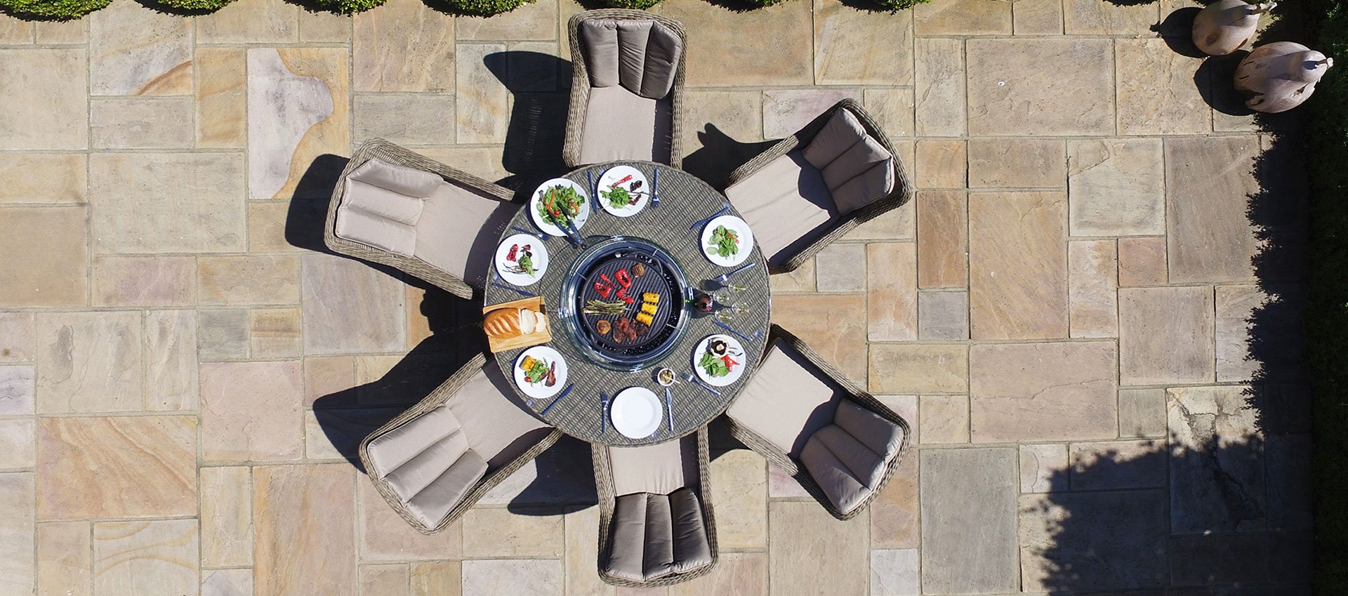 Maze Rattan - Winchester - Venice 6 Seat Round Fire pit Dining Set - With Lazy Susan