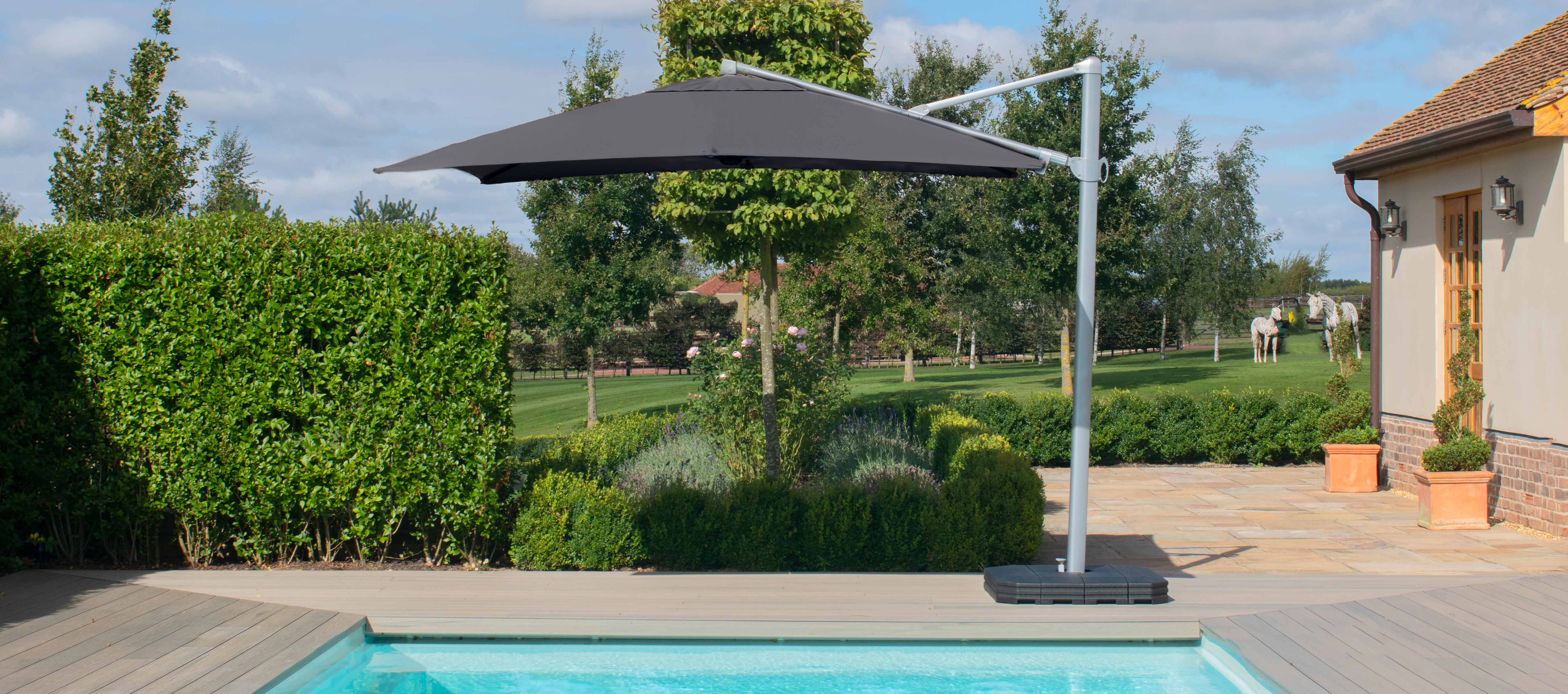 Maze Rattan - Zeus 3m Square Rotating Cantilever Parasol With LED Lights - Grey
